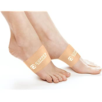 Copper Compression Copper Arch Supports - 2 Plantar Fasciitis Brace Sleeves. Guaranteed Highest Copper Content Support Sleeve. Braces for Foot Care, Heel Spurs, Feet Pain, Flat Arches (Nude Color)