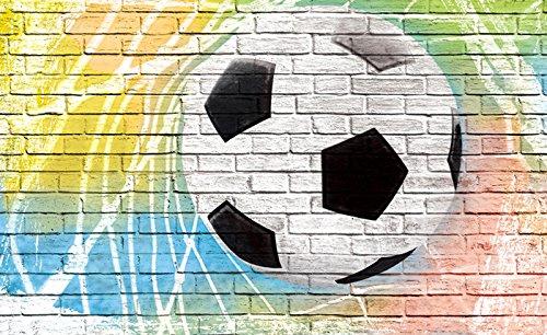 FORWALL Fototapete Vlies - Tapete Moderne Wanddeko Graffiti - Fußball auf Ziegelwand V4 (254cm. x 184cm.) AMF2021V4 Wandtapete Design Tapete Wohnzimmer Schlafzimmer