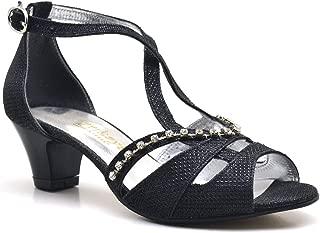 Sarıkaya Taşlı Siyah Topuklu Kız Çocuk Abiye Ayakkabı
