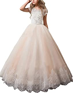 Lace Flower Girls Dresses Beading First Communion Dress Princess Wedding Party Ball Gown Champagne
