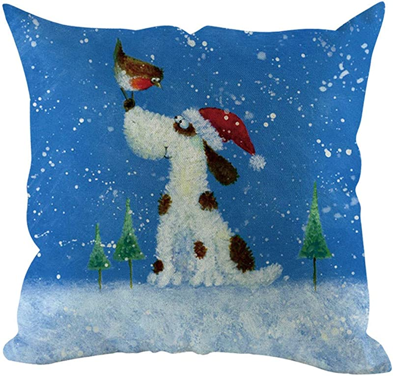 Lataw Christmas Pillow Cover Animal Theme Pillowcases Cotton Linen Square Throw Pillow Case Decorative Cushion Cover Pillowcase For Sofa