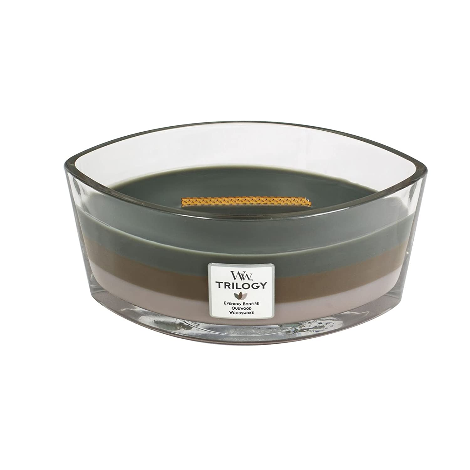 WoodWick Trilogy cosy CABIN, 3-in-1 Highly Scented Candle, Ellipse Glass Jar with Original HearthWick Flame, Large 7-inch, 470ml