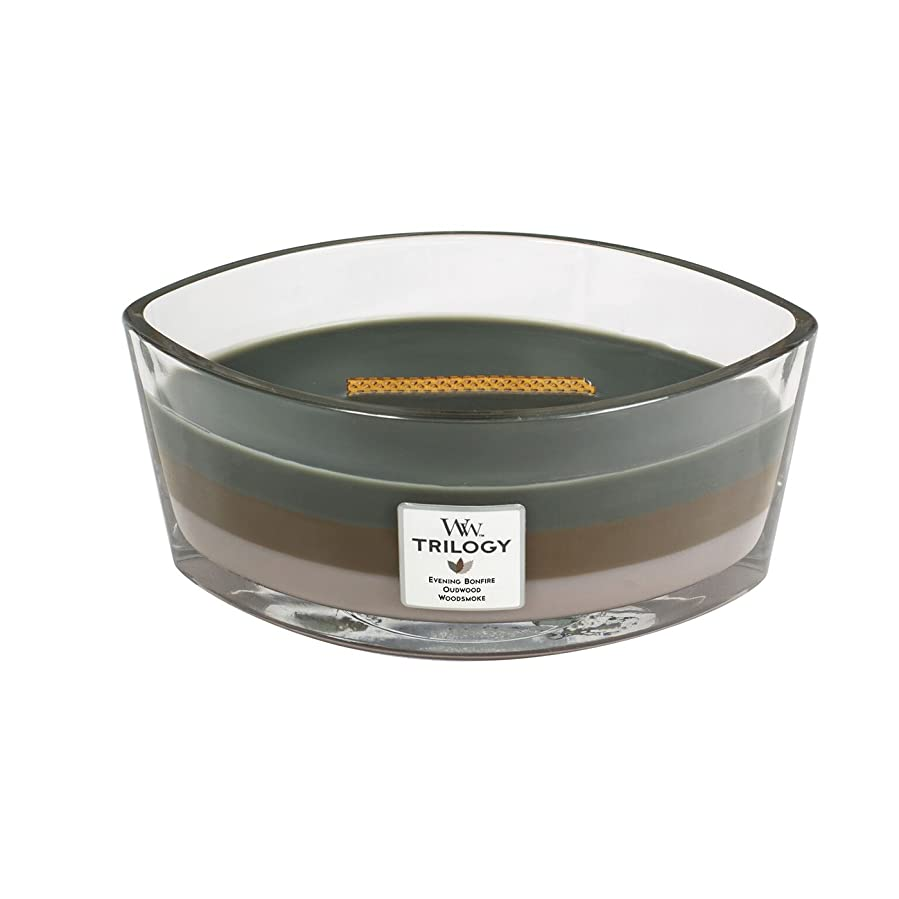 リネン枕もっと少なくWoodWick Trilogy cosy CABIN, 3-in-1 Highly Scented Candle, Ellipse Glass Jar with Original HearthWick Flame, Large 7-inch, 470ml