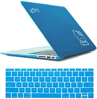 Rinbers 2in1 Bundle Soft-Touch Plastic Light Blue Kitty Rubberized Hard Shell Case Print Frosted for MacBook Pro 15 Inch with CD-ROM A1286 (NON Retina Display)