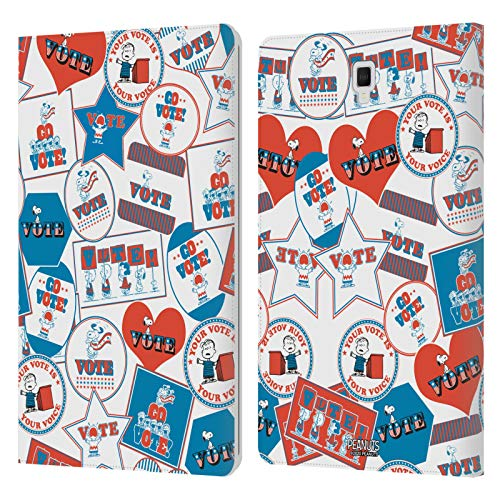 Official Peanuts Non-Sticker Pattern Your Vote Is Your Voice Leather Book Wallet Case Cover Compatible For Galaxy Tab S4 10.5 (2018)