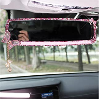 LuckySHD Car Rear View Mirror with Crystal Diamond Butterfly - Pink
