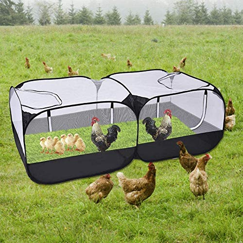 Jhua Pet Playpen for Small Animals, Portable Chicken Run with Cover, Foldable Chicken Coop Outdoor, Play Pens for Small Pets with Transparent Mesh Walls Suitable for Chicken Duck Puppy Cat Rabbit
