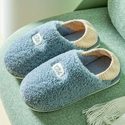 XZDNYDHGX Invierno Zapatillas Interior Casa,Zapatillas de algodón para Hombres y Mujeres, Parejas de Interior en casa, Zapatillas de algodón cálidas con tacón Azul EU 41-42