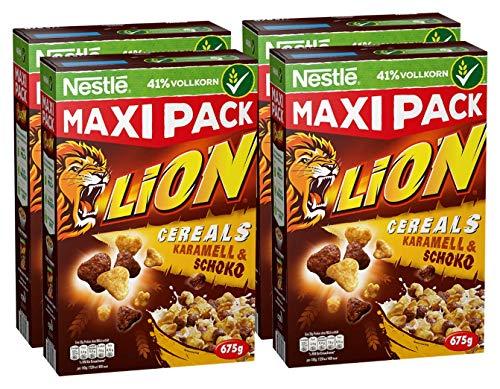 Nestlé Lion Cereals   Schoko Müsli mit Karamell   38% vitales Vollkorn   Mit Vitaminen und Mineralstoffen   Crunchy Knusper Flakes   Maxi Vorratspackung    4er Pack (4 x 675 g)