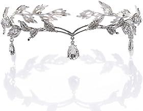 Diadema con cuentas de cristal y diamantes sintéticos, plateado