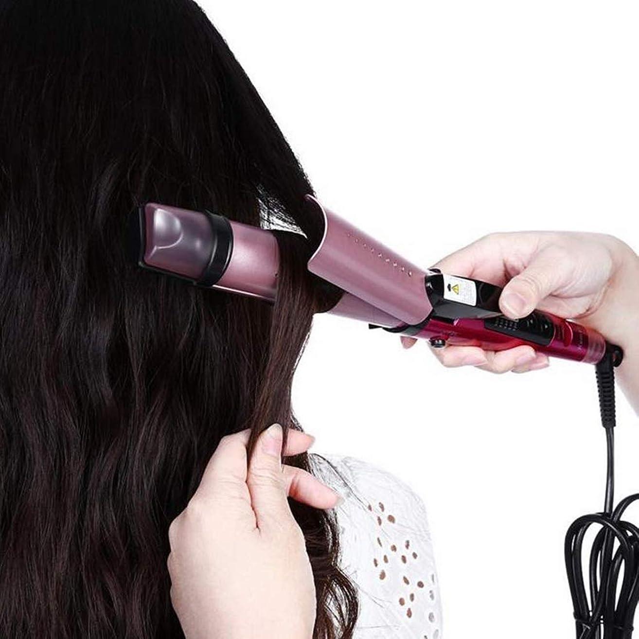 遺伝子リビングルームキャッチスチームストレートヘアコームマイナスイオンカーリングロッドストレートデュアルユース電動コイルロッドで髪を傷つけません(カラー:ローズレッド)