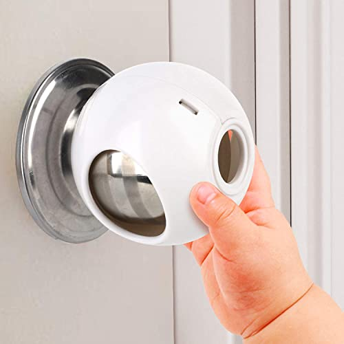 Door Knob Safety Cover for Kids (4 Pack) New Shape & Structure Design Child Door Knob Covers Prevent Children from Op...