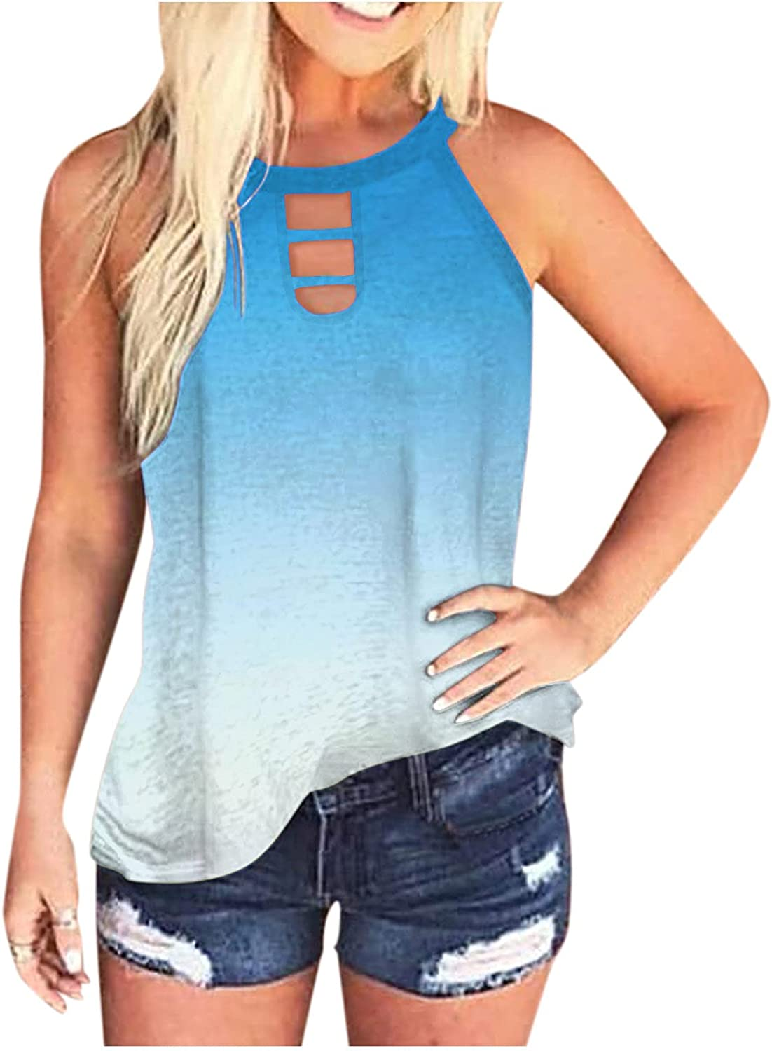 Women's Casual Sleeveless Blouse Tunic Shirt Halter O-Neck T Shirt Independence Day Tops Vest
