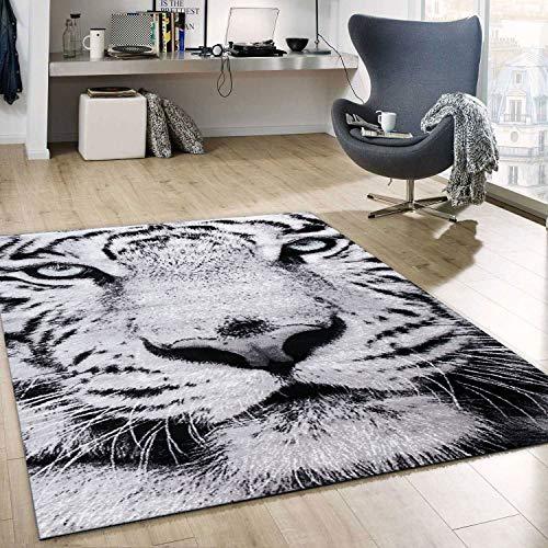 VIMODA Teppich Kurzflor Schnee Tiger Katze Weiß Wild Grüne Augen, Maße:120x170 cm