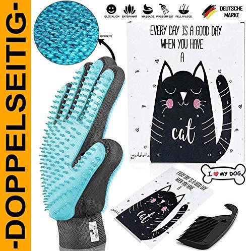 GOLDSTA ANIMALS - Wunderbarer Haustier Bürstenhandschuh-SET I Fellpflegehandschuh I Katzenbürste I Enthaarungs-Bürste Fellbürste für Hunde-Katzenhaare I Hunde Katzen-Zubehör I Ideal als Geschenk