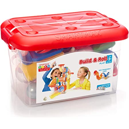 SmartMax Build & Roll (44 pcs) STEM Magnetic Discovery Building Set Featuring Safe, Extra-Strong, Oversized Building Pieces and Sturdy Storage Case for Ages 5+