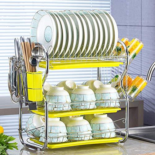 ZTMN Dish rack Vaatwasser keuken drain rack rack eenvoudige installatie dragende sterke 3 laag roestvrij staal serviesrek