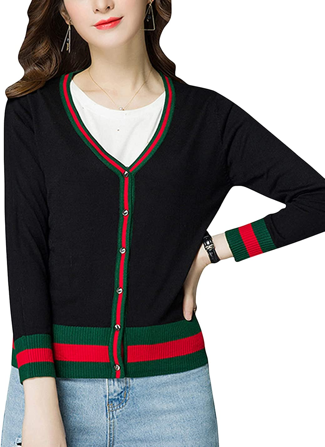 ZGZZ7 Women's Casual Sweater Cardigans V Neck Buttons Short Knitted Sweater Coats Tops