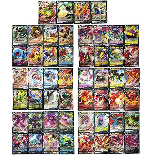 CaCaCook Pokemon Karten, 60 Stück GX Sammelkarten, Karten GX Vmax, Cartoon-Spielkarte, Verschiedene Karten Seltene Karten mit 60V (48V+12Vmax), Sammlungsgeschenk für Kinder Anime-Fans