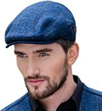 Mucros Weavers Men's Donegal Tweed Flat Cap - Traditional Style, Modern Fashion Item - Blue