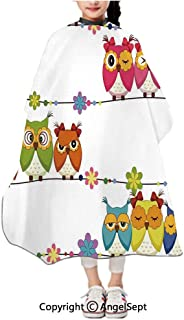 Children Patterned Hair Cut Apron Online,Cute Angry Amusing Owls Eyes Sitting on a String of Flowers Branch Birds Decor Multi,47.2x39.4 inches,Waterproof Hairdresser Dressing Salon