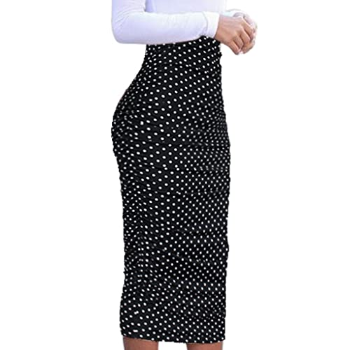 3391e85124e5 VfEmage Womens Elegant Ruched Frill Ruffle High Waist Pencil Mid-Calf Skirt