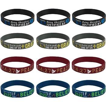 Religious Gift Pack Ephesians 6:10 // Luke 1:37 // Isaiah 40:31 // Matthew 6:33 Set of 4 Scripture Bracelets Adult Size for Men Women Sainstone Bible Wristbands