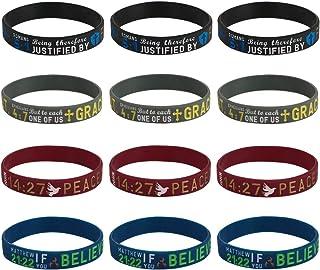 kilofly 4pcs Christian Religious Scripture Bible Verse Rubber Bracelet Wristband