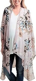 Women's Long Flowy Floral Kimono Cardigan Boho Style Chiffon Beach Open Cover Ups Wraps S-3XL