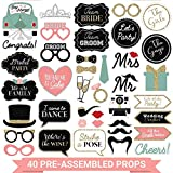 Fully Assembled Wedding Photo Booth Props - Set of 40 - Gold, Pink, Teal, & Silver Selfie Signs - Wedding Party Supplies & Decorations - Cute Wedding Designs with Real Glitter - Did we mention no DIY?