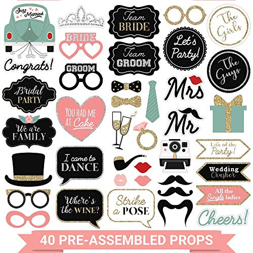 Fully Assembled Wedding Photo Booth Props - Set of 40 - Gold  Pink  Teal  & Silver Selfie Signs - Wedding Party Supplies & Decorations - Cute Wedding Designs with Real Glitter - Did we mention no DIY?