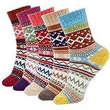 ISIYINER Calcetines de Mujer, Calcetines de Lana de Punto Calcetines Termicos Invierno para Damas Niñas Interiores Exteriores 5 Pares