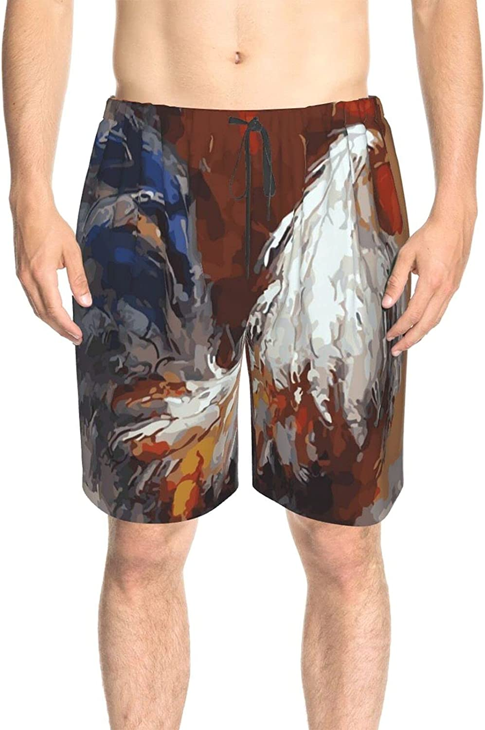 JINJUELS Men's Swim Trunks Roosters Painting Swim Board Shorts Quick Dry Cool Swimwear Bathing Suits with Mesh Lining