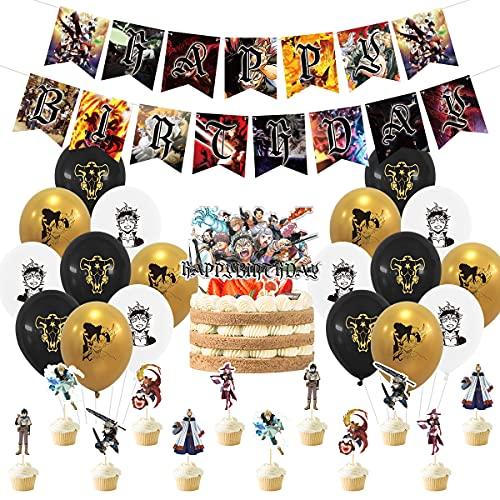 Black Clover Party Decorations Set, Anime Cartoon Theme Birthday Supplies Black Clover Stickers Banner Balloons for Black Clover Lovers Party Supplies Decor