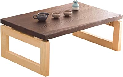 Tatami Tea Table Low Table Bed Study Table Balcony Folding Bed Study Table Modern Wood Coffee Table, Rustic Brown,70 * 45 * 30cm