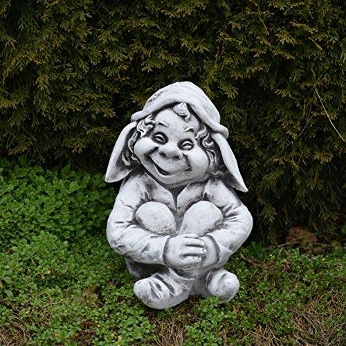 """Lustiger Gnom """"sitze hier und warte"""" aus Steinguss, frostfest - 3"""