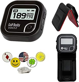 Golf Buddy Voice 2 Golf GPS/Rangefinder Bundle with Belt Clip, 5 Ball Markers and 1 Hat Magnetic Clip