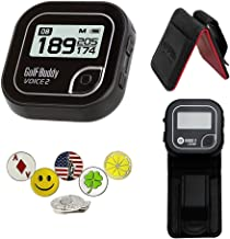 $89 » GolfBuddy Voice 2 Golf GPS/Rangefinder Bundle with 1 Magnetic Hat Clip and 5 Ball Markers and Belt Clip (Black)