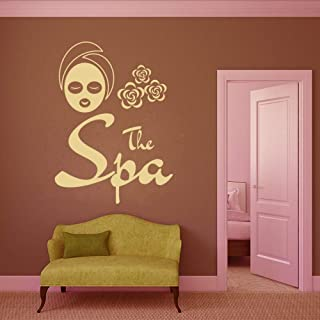 Smydp The Spa Sign Wall Window Stickers for Beauty Salon Facials Mask Vinyl Wall Decals Day Spa Massage Parlor Body Massage Decal 56X76Cm