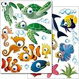 Wandkings Mundo oceánico submarino – Pegatinas para pared,  más de 45 pegatinas en 3 hojas DIN A4