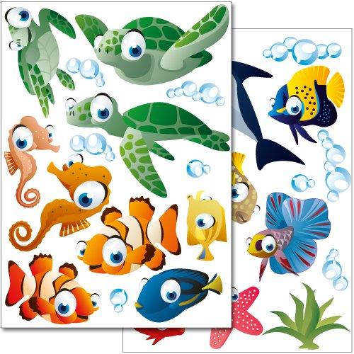 Wandkings Ozean Unterwasserwelt Wandsticker Set, 50 Aufkleber, 3 DIN A4 Bögen, Gesamtfläche 90 x 20 cm