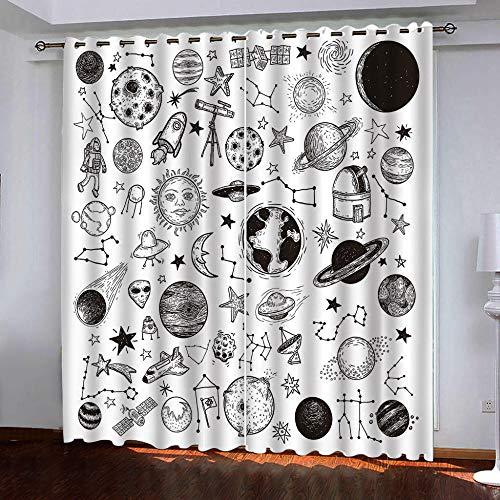 Thermo-gordijnen, isolerend, bescherming tegen kou, ondoorzichtig, oogjes, woonkamer, keuken, slaapkamer, thermo-isolerend, kleine ramen, modern, 2 panelen x 117 cm x 229 cm hoog