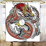 Dragon Polyester Shower Curtain Traditional Chinese Creature Holding A Large Pearl Zodiac Signs Folk Tattoo Graphic Shower Curtain with Hooks Multicolor 48x72 INCH