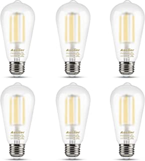 Ascher Edison LED Bulbs, 6W, Equivalent 60W, Glare-Free Frosted Glass, Daylight White 4000K, ST58 Antique LED Filament Bulbs, E26 Medium Base, Non-Dimmable, Pack of 6