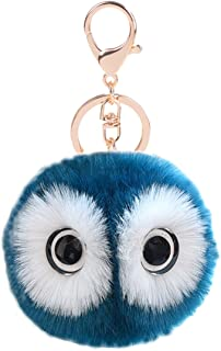 Cute Fur Ball Keychain,Car Handbag Pendant Pom Pom Key Ring Chain for Women Girl Gifts