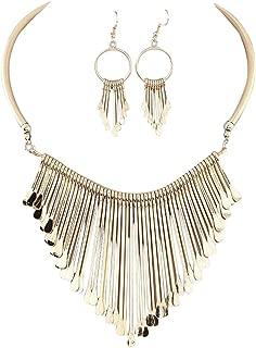 Luxury Necklace+Earrings Jewelry Set Womens Metal Tassels Pendant Chain Bib Necklace Earrings Wedding Bride Jewelry