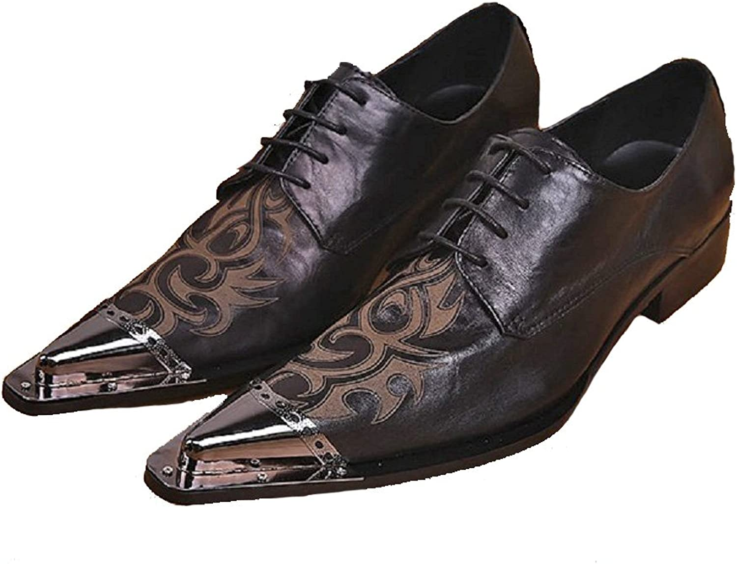 Cover Plus Size 5-12 New Black Paisley Genuine Leather Dress Oxfords Mens shoes