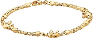 Goldtone Caranvan of Lucky Elelphants Ankle Bracelet(10mm), 10 inches