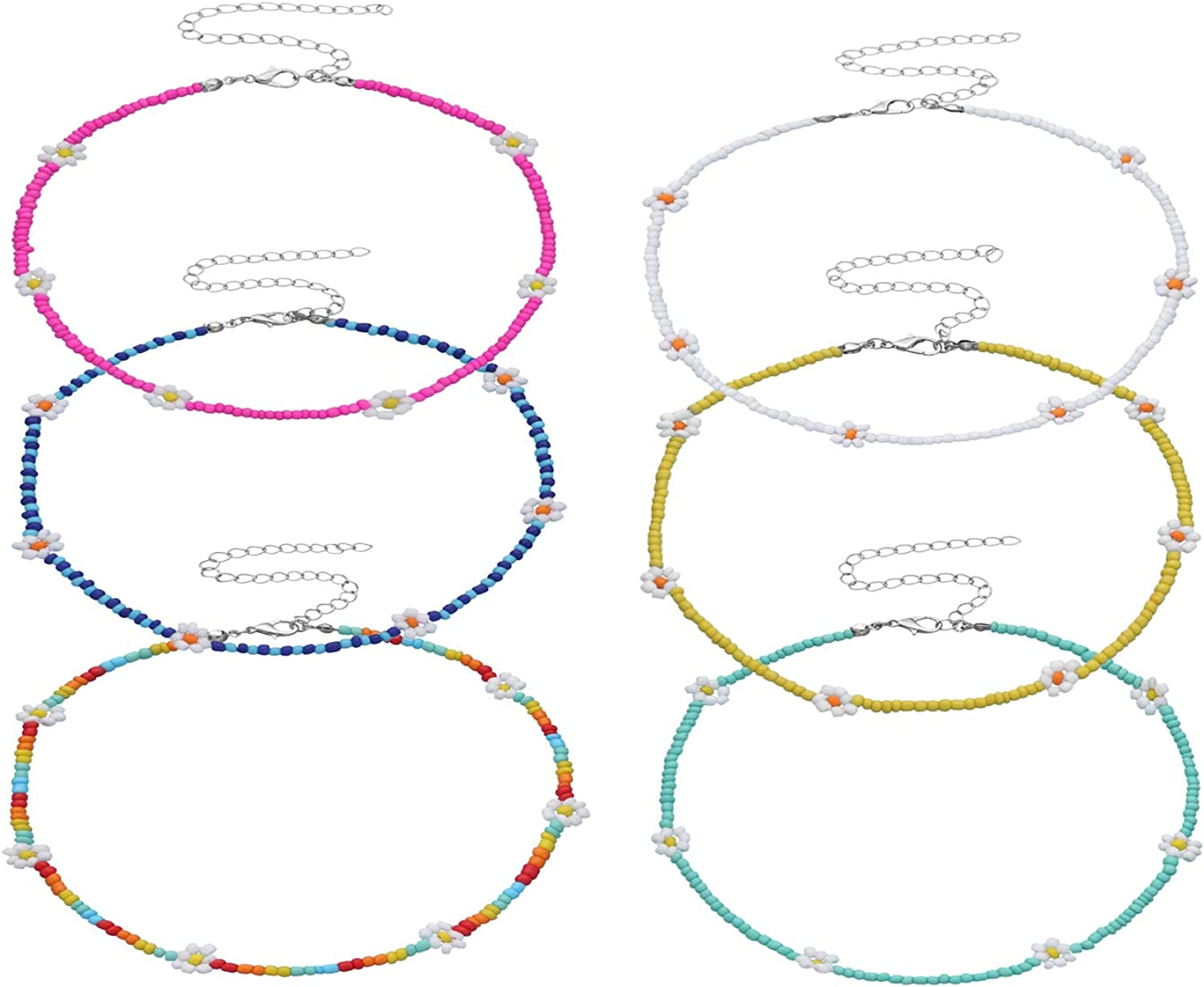 6pcs Colorful Seed Beaded Daisy Flower Choker Necklaces Set Ajdustable Chain Clavicle for Women Girls Cute Handmade Boho Holiday Bohemian Summer Jewelry