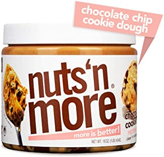 Nuts 'N More Chocolate Chip Cookie Dough Peanut Butter Spread, All Natural High Protein Nut Butter Healthy Snack, Omega 3's and Antioxidants, Low Carb, Low Sugar, Gluten-Free, Non-GMO, 16 oz Jar